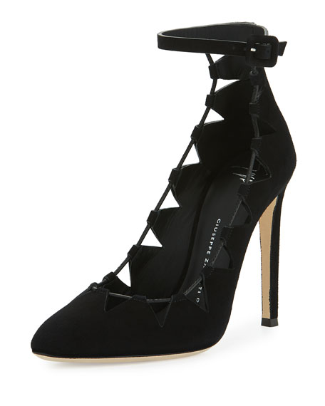 Giuseppe Zanotti Bimba Suede Lace-Up 110mm Pump, Black