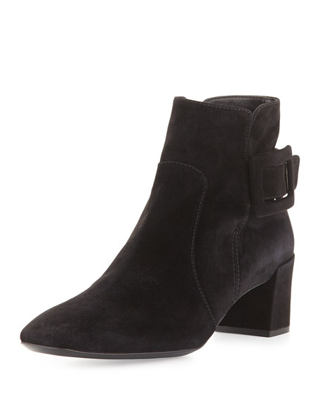 Roger Vivier Polly Suede Side-Buckle Ankle Boot, Black