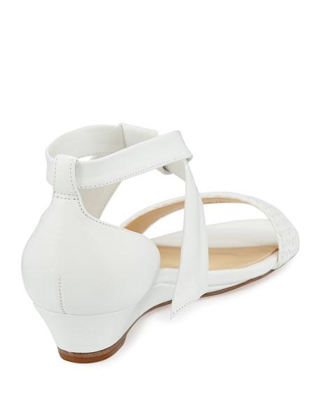 Atenah Woven Demi-Wedge Sandal, White