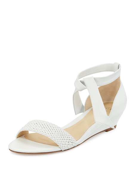 Alexandre Birman Atenah Woven Demi-Wedge Sandal, White