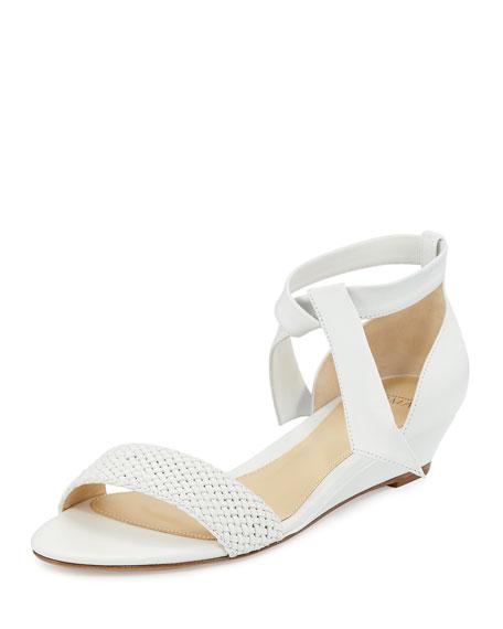 Alexandre Birman Atenah Woven Demi-Wedge Sandal, White