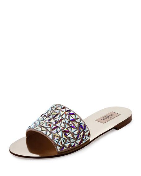 Glam Tile 5mm Slide Sandal, Platino