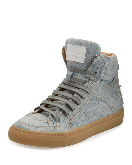 Denim High-Top Sneaker, Light Blue