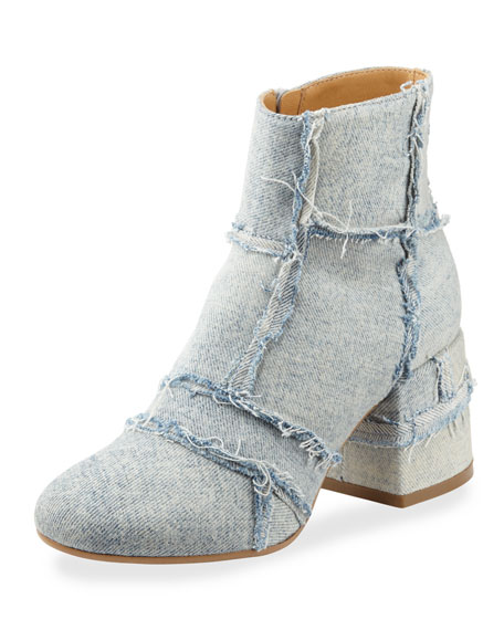 MM6 Maison Martin Margiela Denim Chunky-Heel Bootie. Light