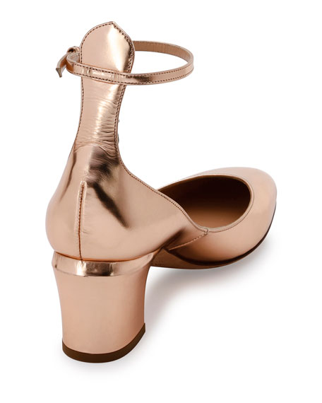 Tan-Go Ankle-Strap 60mm Pump, Rose Gold