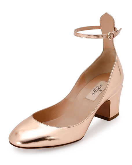 Valentino Garavani Tan-Go Ankle-Strap 60mm Pump, Rose Gold