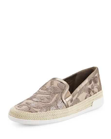 Donald J Pliner Pamela Embellished Canvas Slip-On Sneaker,