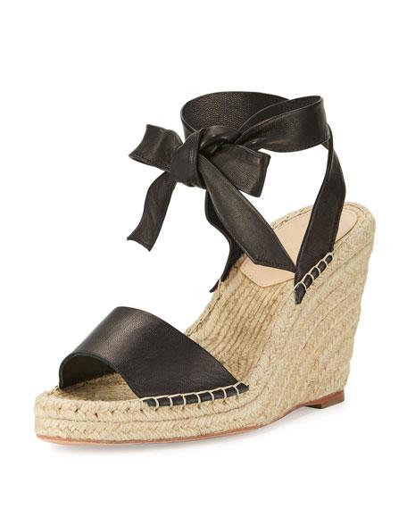 Loeffler Randall Harper Ankle-Wrap Wedge Espadrille Sandal, Black