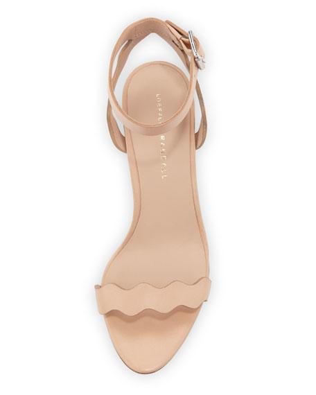 Emi Wavy Leather Ankle-Wrap Sandal, Neutral