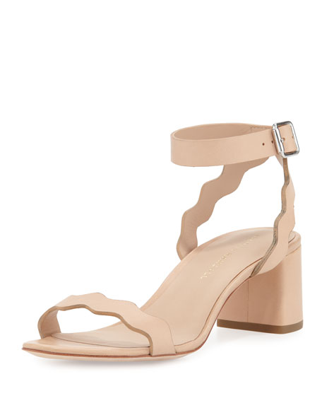 Emi Wavy Leather Ankle-Wrap Sandal, Neutral