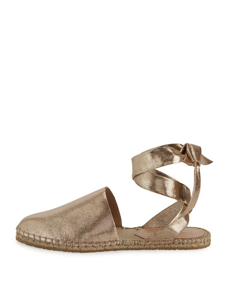 Heloise Ankle-Wrap Espadrille Flat, Gold