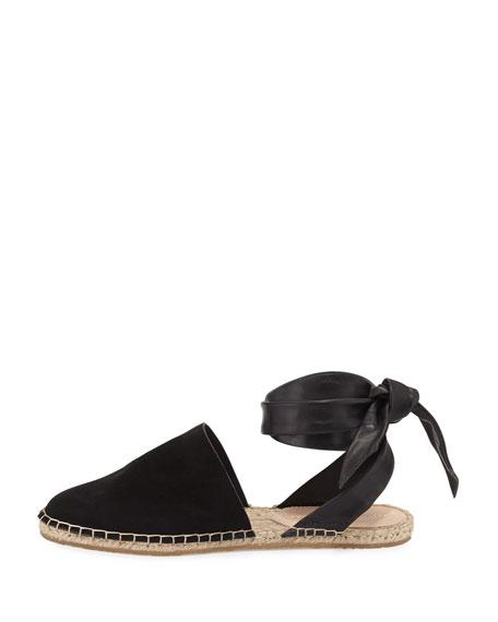 Heloise Suede Ankle-Wrap Espadrille Flat, Black