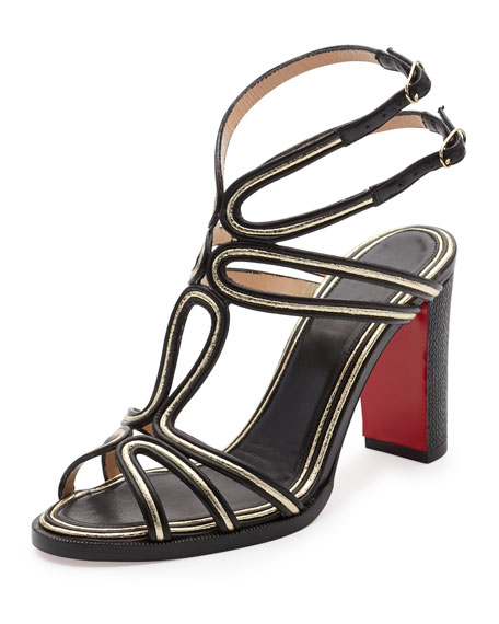 Christian Louboutin Zenobissima Block-Heel Red Sole Sandal,