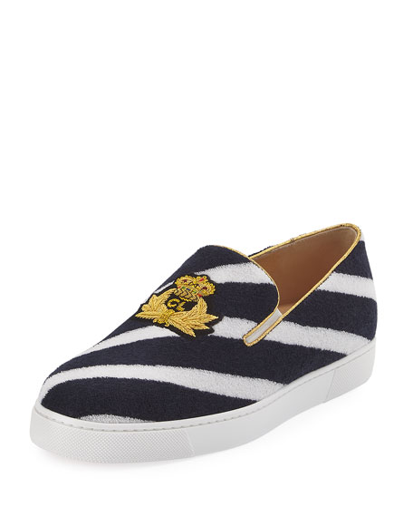 Boat Spa Flat Striped Red Sole Slip-On Sneaker, Navy Blue/White
