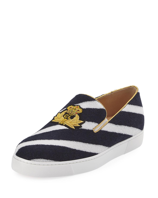best sneakers 2fe60 99051 Boat Spa Flat Striped Red Sole Slip-On Sneaker, Navy Blue/White