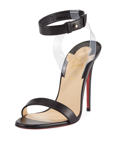 Jonatina Illusion Red Sole Sandal, Black
