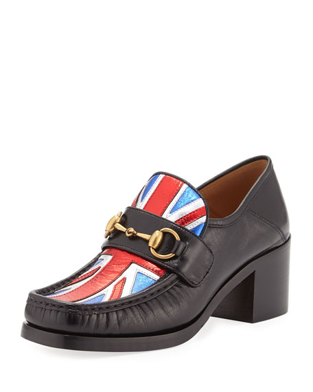 Gucci Vegas Union Jack Loafer Pump, Black