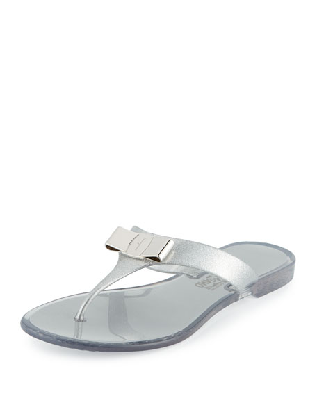 Bow Flat Jelly Thong Sandals, Silver