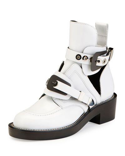 Buckle Leather 35mm Bootie, Blanc