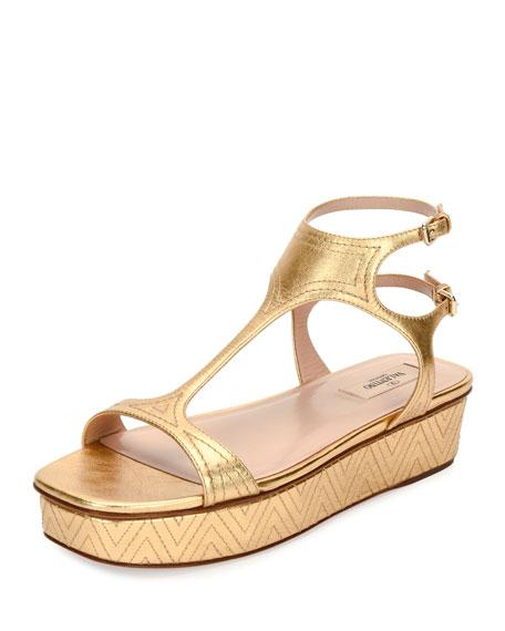 Valentino Garavani Embroidered T-Strap Flatform Sandal, Gold
