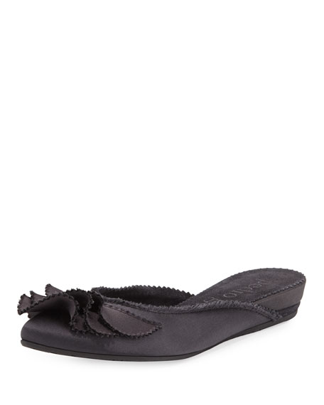 Alia Ruffled Satin Mule, Dark Gray