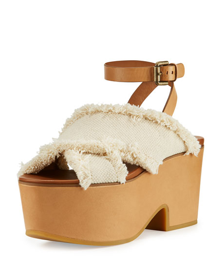 See by Chloe Adele Frayed Canvas Platform Clog