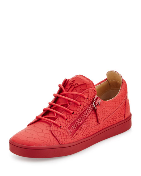Giuseppe Zanotti Breks Snake-Embossed Side-Zip Sneaker, Red