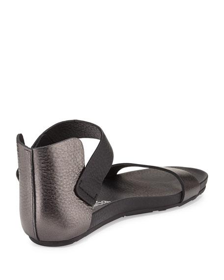 Juncal Metallic Leather Sandal, Charcoal