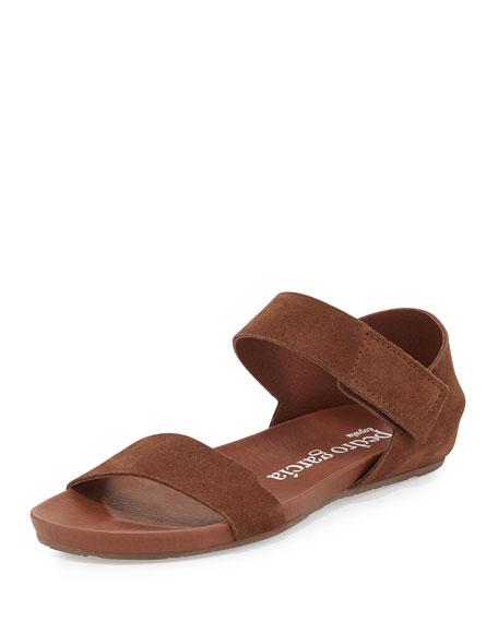 Juci Suede Flat Sandal, Chocolate