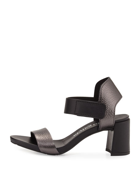 Willa Metallic Leather City Sandal, Charcoal