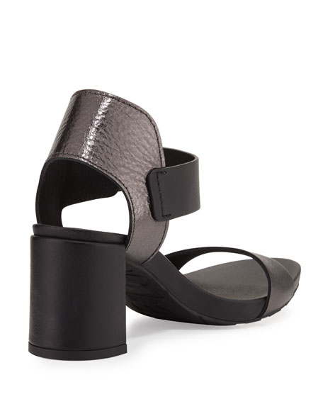 Willa Metallic Leather City Sandal, Charcoal