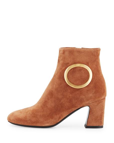Suede Round-Buckle Chunky-Heel Boot, Cognac
