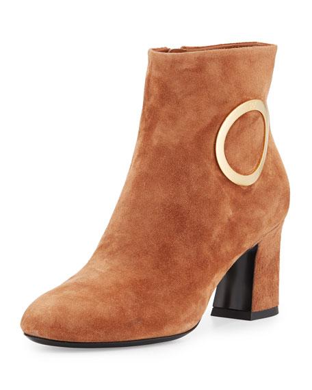 Roger Vivier Suede Round-Buckle Chunky-Heel Boot, Cognac
