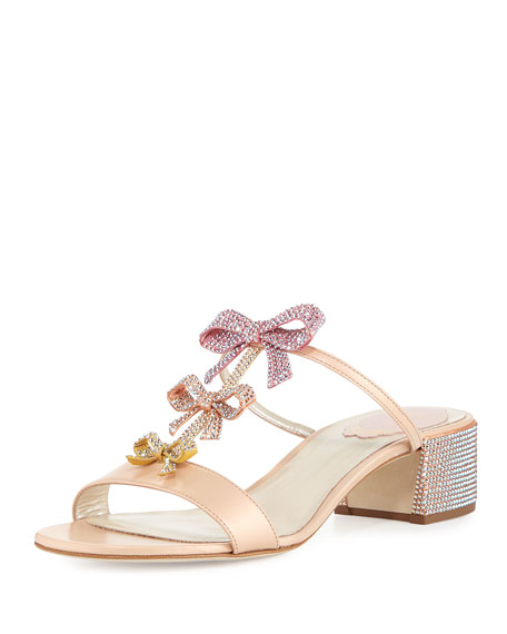 Rene Caovilla Bow Embellished 40mm Slide Sandal, Multi