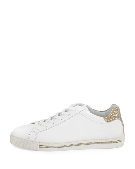Crystal-Trim Low-Top Sneaker, White