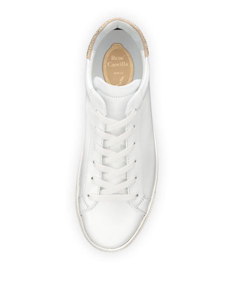 Crystal-Trim Low-Top Sneakers, White