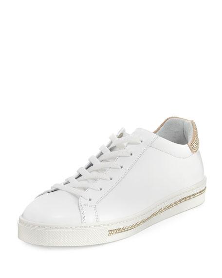 Crystal-Trim Low-Top Sneaker, White