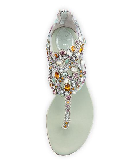 Crystal-Chandelier Thong Sandal, Multi