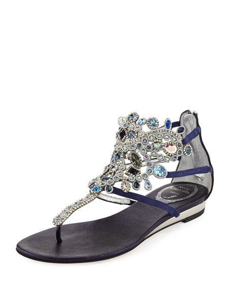 Rene Caovilla Crystal-Chandelier Flat Thong Sandal, Blue