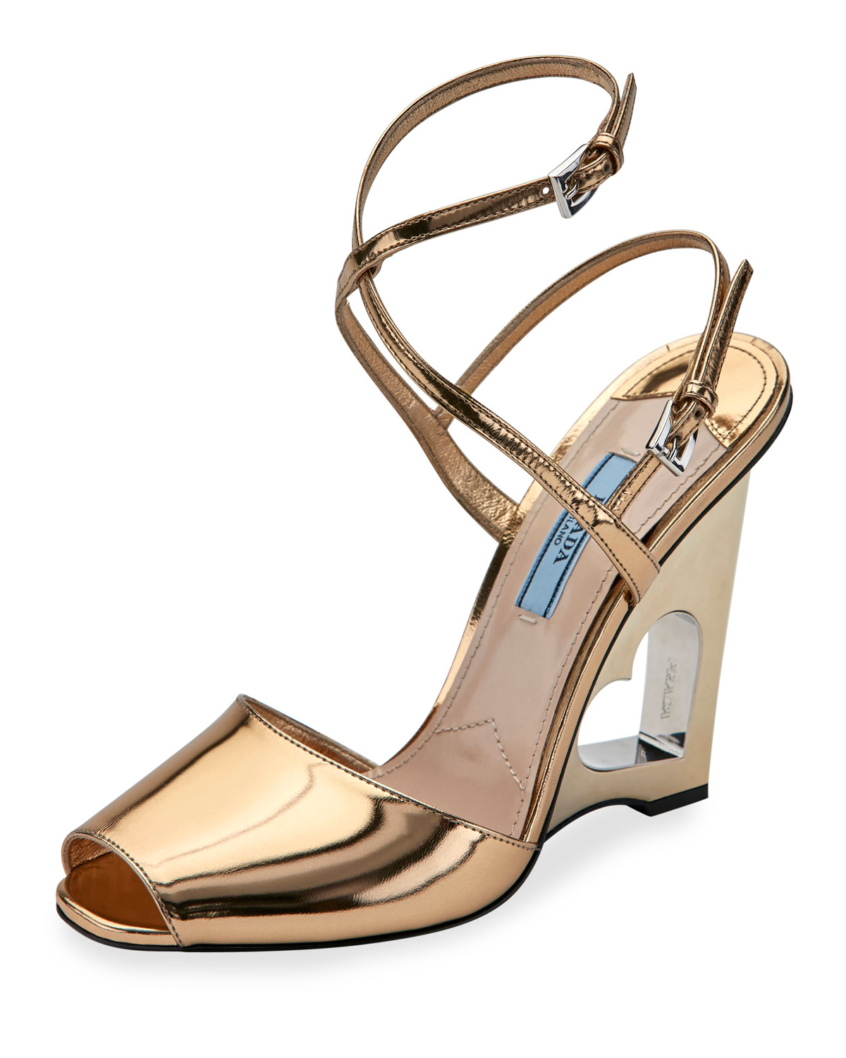 Prada Cutout Leather Sandals cheap sale great deals free shipping countdown package best sale sale online buy cheap low cost Q59MEjc4