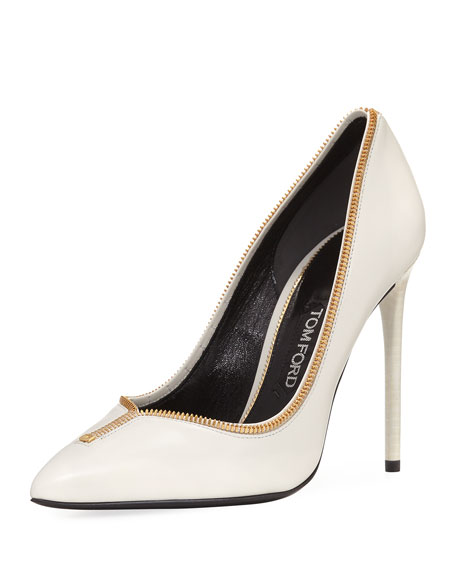 Zipper-Trim Leather 105mm Pump, Beige