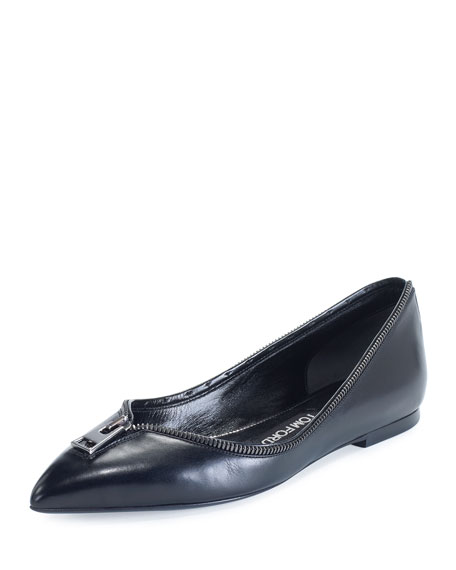 TOM FORD Zipper-Trim Leather Flat, Black