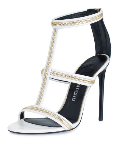 Zipper T-Strap 105mm Sandal, White