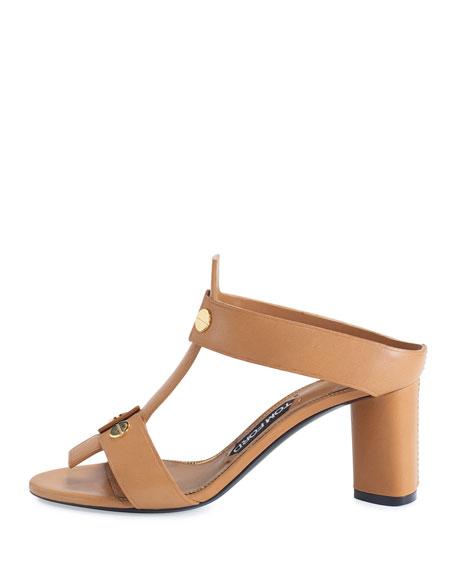 Leather T-Strap 65mm Slide Sandal