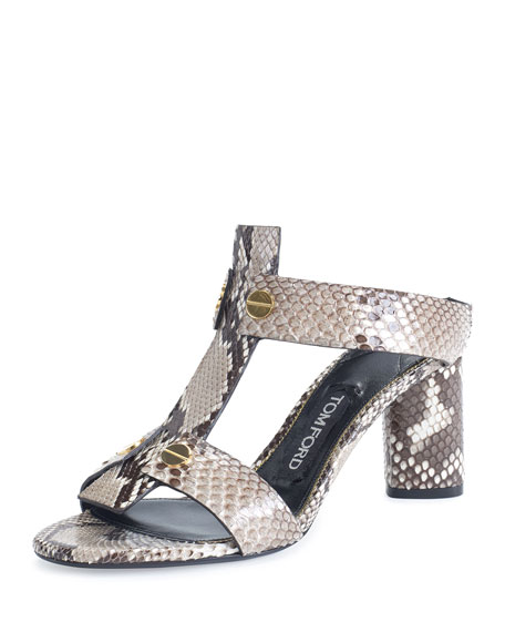 Python T-Strap 65mm Slide Sandal, Gray