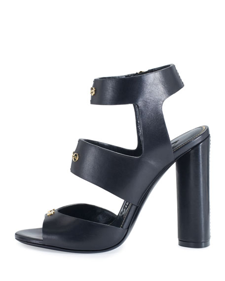 Rivet Leather 105mm Sandal, Black