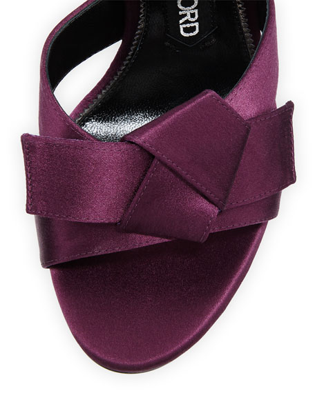 Bow Satin Ankle-Strap 105mm Sandal, Purple
