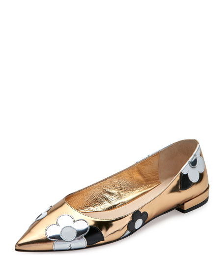 Prada Floral-Appliqué Pointed-Toe Flat
