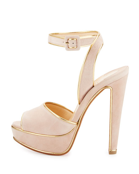 new styles 1e17d f8b8f Louloudance Suede Platform Red Sole Sandal Pink/Gold