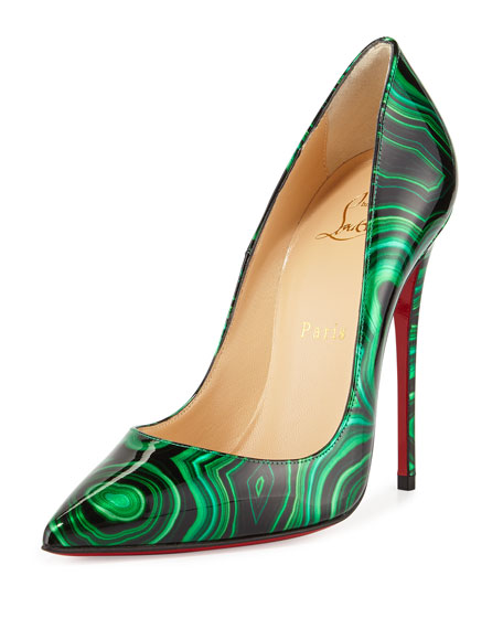 So Kate Marbled Red Sole Pump, Green